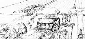 Drawing of grange at Dean Court Farm.